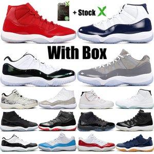 Pallacanestro 11 alti Bianco Bred Scarpe Concords Space Jam Mens Red Cemento UNC pallacanestro degli uomini delle scarpe da tennis 11s Palestra Rosso con la scatola