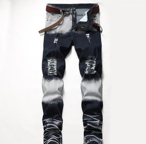 Mid Waist Straight Mens Pants Fashion Male Apparel Mens Designer Jeans Distrressed Blue White Holes Stretch Regular