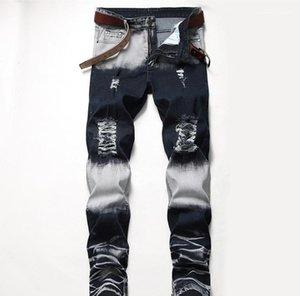 Mid Waist Straight Mens Pants Fashion Male Apparel Mens Designer Jeans Distrressed Blue White Holes Stretch Regular