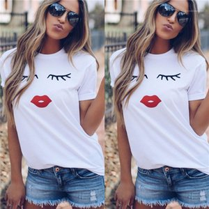 Short Sleeve Crew Neck Moda suelta Tees Famale Top para mujer de rojo de labios Imprimir camiseta de verano