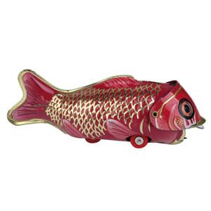 Vintage lamiera di ferro Wind-up pesce grande mangia pesce piccolo Collezione Tin Toy