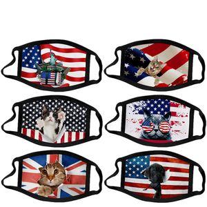 Kid adulto Cara Boca Máscara Anti-Flag-polvo de algodón de EE.UU. Independencia Julio Día 4 º mujer unisex Moda Cálida 34 estilos