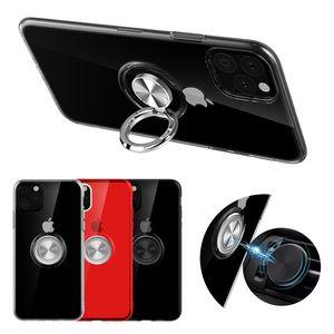 Claro anillo del sostenedor pata de cabra magnético resistente suave de la caja del teléfono de TPU para el iPhone 11 Pro Max XR XS MAX 7 8 Plus de Samsung Huawei