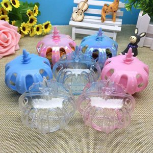 1 Pcs Candy Boxes with Transparent Plastic Crown Shaped Baby Shower Birthday Party Favor Box Decoration Event Party Supplies