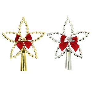 Albero di Natale Stella Topper, Xmas Puntale dell'albero di Natale Stella di Natale Decorazione dell'albero-top Stella Rossa Con Bowtie