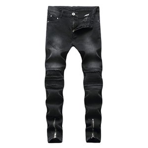Pop2019 And High Street Trend Fold Holes Jeans European Male Elastic Force Directly Canister Slim Pants Locomotive