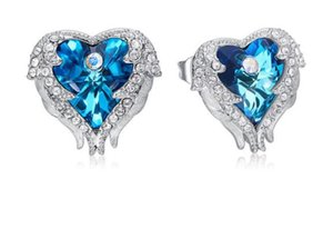 Blue Purple Earrings Angel Wings with Elements Crystal Stud Earrings Ocean Heart European and American W48