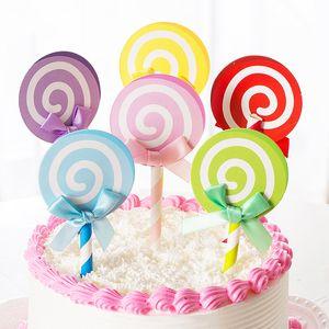 Vente 6PCS / Set bowknot Lollipop papier gâteau Décorations Inserts shaped Cartes Drapeaux Brithday Festival Party Décoration