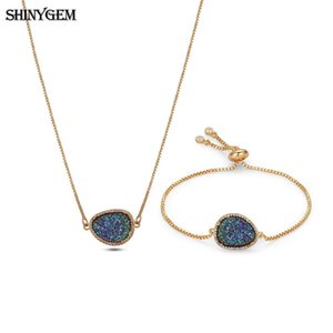 wholesale 10 Colors Gold Plating Vintage Retro Similar Water Drop Sparkling Druzy Stone Necklace Bracelet Jewelry Sets For Women