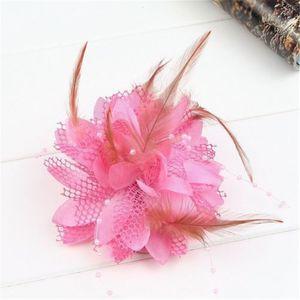 Clip mujeres Pequeño Sinamay Fascinators Pluma Flores nupciales del pelo accesorios del pelo para la boda 8Colors