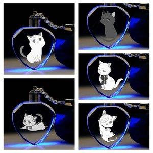 IVYYE SHIWASU MUTSUKI Heart shaped Anime LED Key Chains Figure Keyring Crystal Toy Keychain Light Keyholder Unisex Gifts NEW