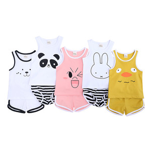 Baby Sleeveless Round Neck Cotton Vest and Short Pant Suit Two Pieces Girls Boys Summer Tops and Short Trousers Set KD 039