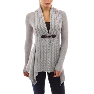 2018 mão de malha Cardigans Mulheres Brasão Outono Inverno manga comprida Magro Sweater Mulheres Poncho Sashes Crochet Cardigan