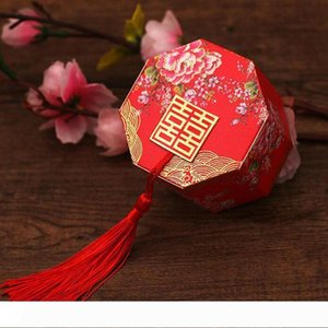 B 100pcs lot New Chineses Double Happiness Candy Box Party Favor Packing Chocolate Packaging With Tassels Free Shipping