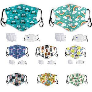 Kindercartoonmaske PM2.5 Anti-Fog-Dunst Staubschutz waschbare hängen Ohrart Baby Maske Katze Dinosaurier Hund Sterne Masken Panda Gesicht