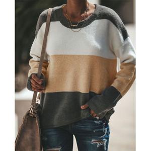 Осень зима свитер женщины 2019 вязаный джемпер женская Лоскутная O-образным вырезом свободные теплые пуловеры женские повседневные стильные топы