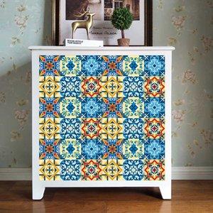 6pcs / set Motif coloré carreaux PVC mur Sticker cuisine salle de bains Décoration service fini Peel et bâton Tile Art Mural