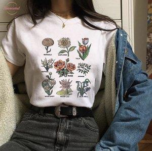 زهرة برية الجرافيك تيز المرأة طباعة الزهور T قميص المرأة الشمس المشرقة مصنع هذه المحملة للجنسين T قميص الجرونج 90S القمم السفر