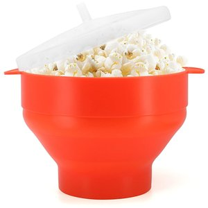 Kapak ile Popcorn Mikrodalga Silikon Katlanabilir Kırmızı Yüksek Kalite Mutfak Kolay Araçlar DIY Popcorn Kepçe Bowl Makinesi