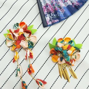 Japanese kimono kimono headdress handmade fabric and wind color matching floral headdress hairpin side clip