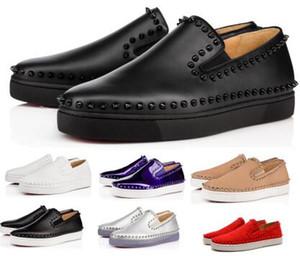 Punte inferiori rosse dei pattini casuali delle scarpe da tennis per gli uomini donne barche Appartamenti Pik 2020 nuovo arrivo del cuoio genuino della pelle scamosciata nera Low Man Fashion Shoes