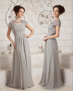 Silver Chiffon A-Line Mother of The Bride Dresses Applique Lace Pleated Summer Party Gowns Floor Length Evening Prom Dress