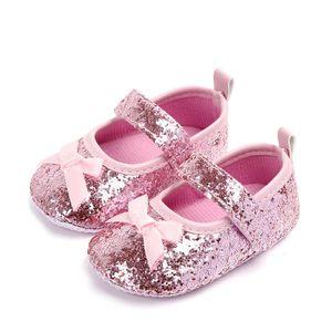 Nuevo Fancy Infant Baby Girl Bling Lentejuelas Zapatos Niños Encantadores antideslizantes Bowknot Prewalk Niños Princesa Prewalker