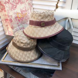 Fashion Designer Leather Letter Bucket Hat For Mens Womens Foldable Caps Black Fisherman Beach Sun Visor Sale Folding Man Bowler Cap c BB109