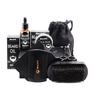 Beard Care Kit 7Pcs Set Beard Oil Wax Brush Comb Scissors Wallet Bag beard kit tool High quality