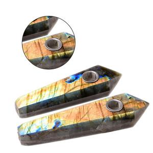 Природные кварцевые кристаллические трубы лабрадорита курительная трубка Point, обелиск Healing Wand Нежный Мужчины Марка Пьезокварцевые Курительная трубка