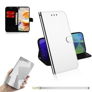 For LG K61 Lmited Mirror Surface Horizontal Flip Leather Case with Holder Card Slots Wallet Lanyard