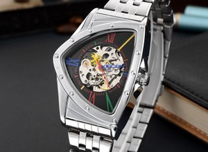 Men's fashion creative business casual hollow personality triangle shape stainless steel belt mechanical watch waterproof automatic skeleton