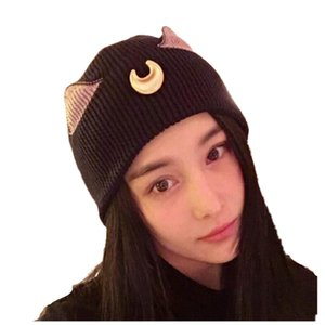 Cartoon cat crescent ear hat sailor moon womens knitted lovely womens knitted caps girl Hats & Caps Hats, Scarves & Gloves Skullies Beanies