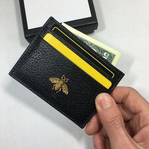 Cuero genuino Pequeñas Carteras Titulares Moda Mujeres Metal Abeja Paquete de Tarjeta Bancaria Moneda Bolsa ID Titular de la tarjeta monedero de las mujeres Monedero Fino Bolsillo bolsa