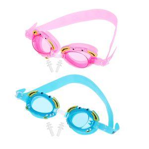 2pcs Set Anti-Fog PC Swimming Goggles Boys Girls Swim Glasses with Silicone Cute Crab Frame