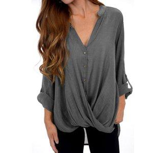 A forma das mulheres tops e blusas de algodão Linho Long Sleeve Baggy Botões Enrole Blusa Gola em V assimétrico Plus Size Túnica Top