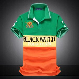 discounted polo shirt Wholesale men tshirt BLACK WATCH POLO TEAM Custom Fit S-5XL 3 COLORS Patchwork