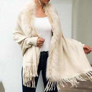 Casual Schal Strickjacke gestrickte Pullover Frauen 2019 Street Gesäumten Umhang-Schal-Pelz-Kragen-Mantel Strickjacke