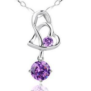 925 Sterling Silver Pendant Necklace New Arrival Love Charm Crystal Heart Pendant Amethyst Necklace Jewelry Women Beauty ps0001