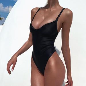 Seksi One Piece Mayo Yüksek Cut Mayo Kadınlar Siyah Sarı V yaka Bodysuit Backless yıkayan 2020 Yeni Mayo parça bikini XL