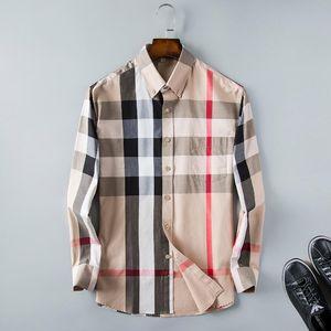 marka tasarımcı gömlek erkek ekose etek gömlek uzun kollu sokak giyim için uygun 2020 moda rahat düğme erkek giyim # ekose 085