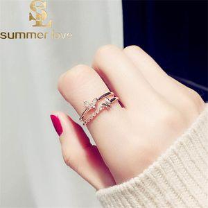 Rose Gold Silber Farbe Nette Schmetterling Offene Ringe für Frauen Kristall Kupfer Verstellbare Ringe Mädchen Verlobungsschmuck Geschenk