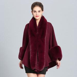 Las mujeres de lana mantón con el falso conejo con borde de piel con cuello de piel abrigo del resorte del otoño la capa del cabo con puños estola de piel