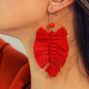 Bohemian Leaf Tassel Drop Dangle Earrings 7Color Beach Statement Earrings Vintage Jewelry Accessories for Women Girls Christmas Gift DHL