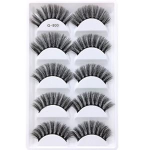 5pairs set False EyeLashes 5 Pairs 3D Natural Long Fake Eyelashes G800 Handmade Makeup Tools Accessories 100pcs with dhl free shipping