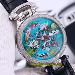Neues Luxus-Bovet 1822 Amadeo Fleurie 3D Koi Fisch Lotus Dial Schweizer Quarzmens-Uhr der Frauen Diamant-Lünette schwarzes Lederarmband Unisexuhren