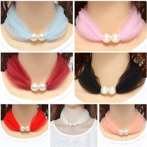 Mode Halskette Stil Schal Frühling und Herbst dünner Seidenschals Grenadine-Spitze-Ansatz-Ring mit Perle Frauen Schönes Halstuch 14 Farben