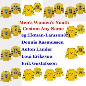 Sweden 2019 IIHF World Championship Hockey Jerseys Wennberg Jersey Jesper Bratt Oskar LindblomElias LindholmHenrik Lundqvist Custom Stitch