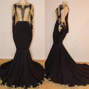 2020 Partido Estilo Aso Ebi Preto Sereia Africano Vestido Gold Lace Nigéria manga comprida Prom Dresses Vestidos BA6987