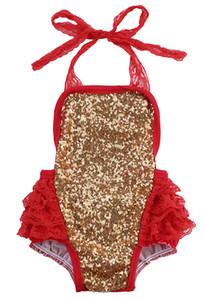 Lantejoula Halter Infant Baby Girl Tulle Romper Lace Halter Correia Jumpsuit Backless sunsuit Outfit Set 0-24M